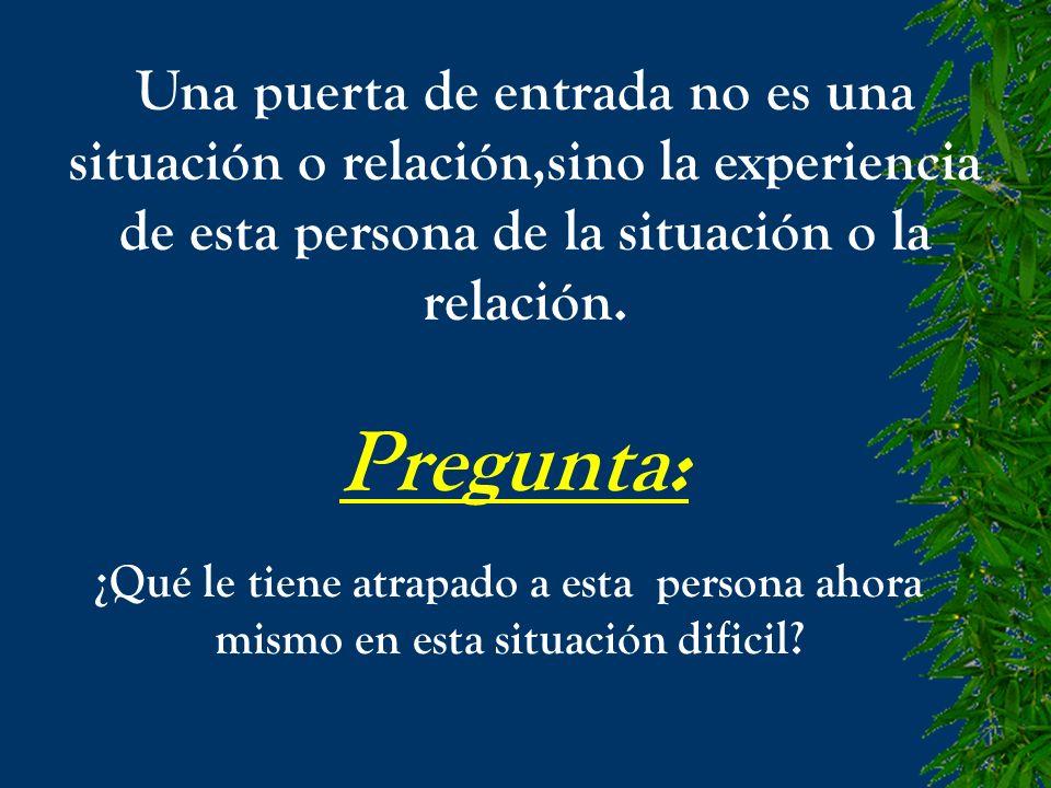 Una puerta de entrada no es una situación o relación,sino la experiencia de esta persona de la situación o la relación. Pregunta: ¿Qué le tiene atrapa