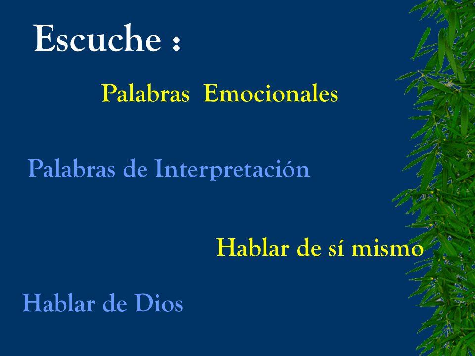 Escuche : Palabras Emocionales Palabras de Interpretación Hablar de sí mismo Hablar de Dios