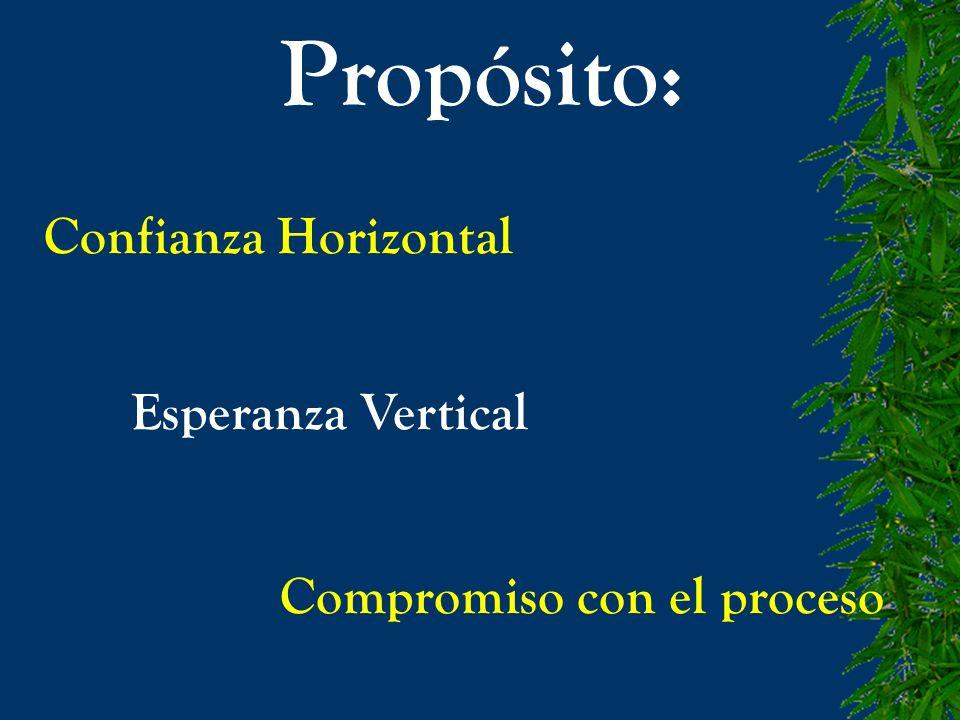 Propósito: Confianza Horizontal Esperanza Vertical Compromiso con el proceso