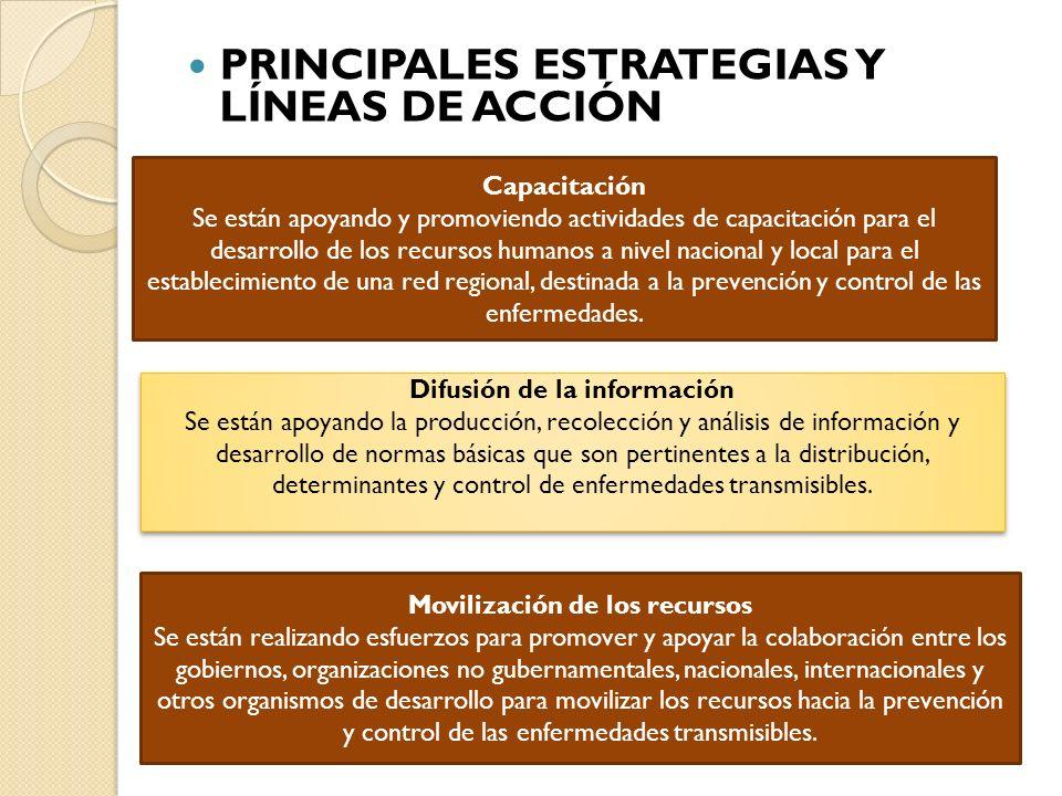 PRINCIPALES ESTRATEGIAS Y LÍNEAS DE ACCIÓN Movilización de los recursos Se están realizando esfuerzos para promover y apoyar la colaboración entre los