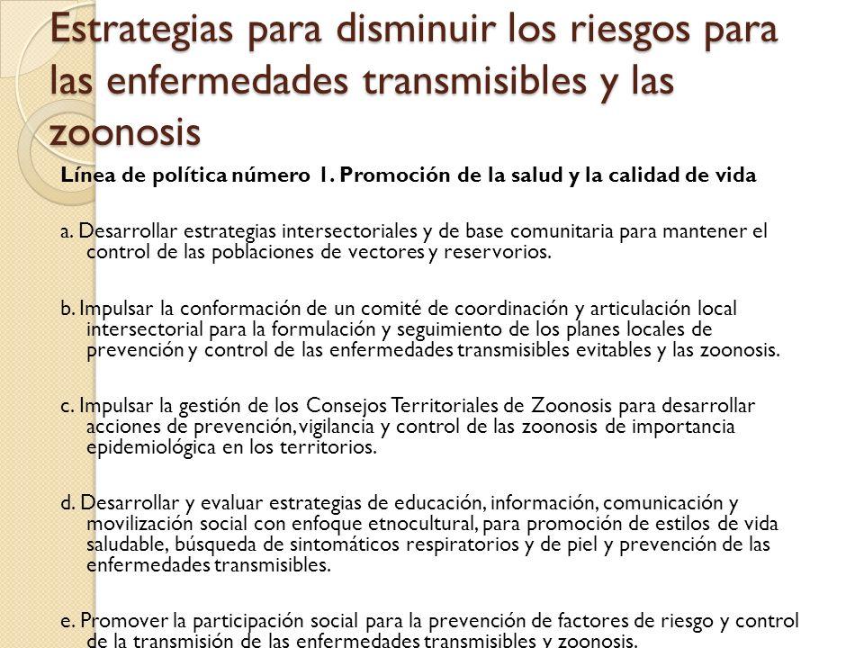 Estrategias para disminuir los riesgos para las enfermedades transmisibles y las zoonosis Línea de política número 1. Promoción de la salud y la calid