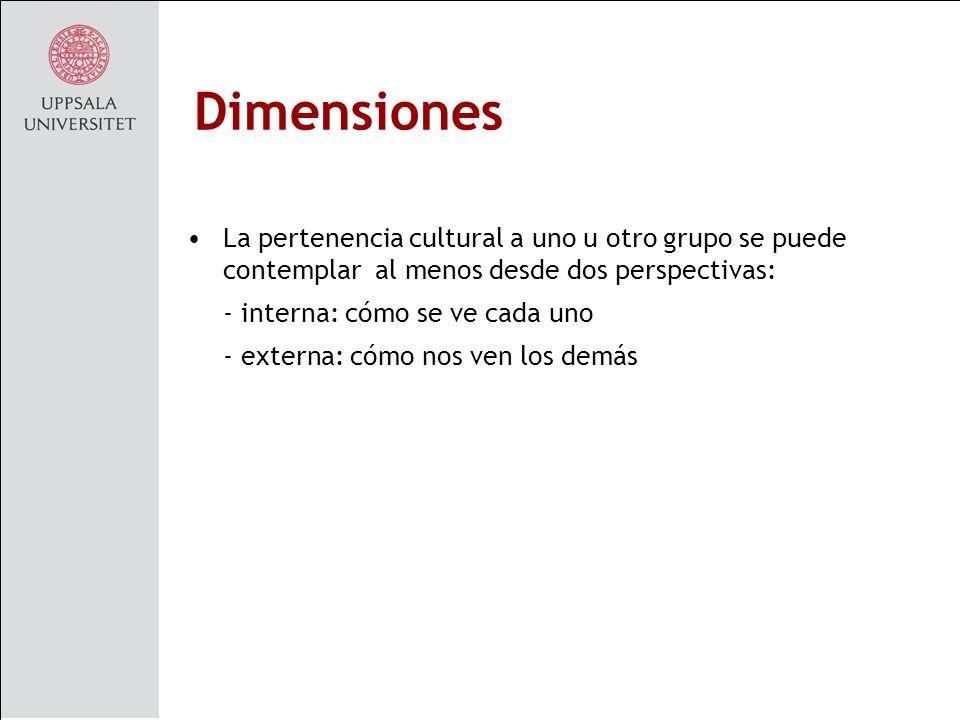 Dimensiones La pertenencia cultural a uno u otro grupo se puede contemplar al menos desde dos perspectivas: - interna: cómo se ve cada uno - externa: cómo nos ven los demás