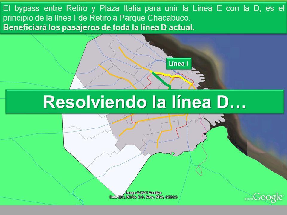 Línea I Línea D El bypass entre Retiro y Plaza Italia para unir la Línea E con la D, es el principio de la línea I de Retiro a Parque Chacabuco.