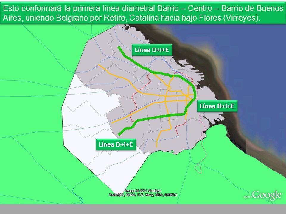 Línea D+I+E Esto conformará la primera línea diametral Barrio – Centro – Barrio de Buenos Aires, uniendo Belgrano por Retiro, Catalina hacia bajo Flores (Virreyes).