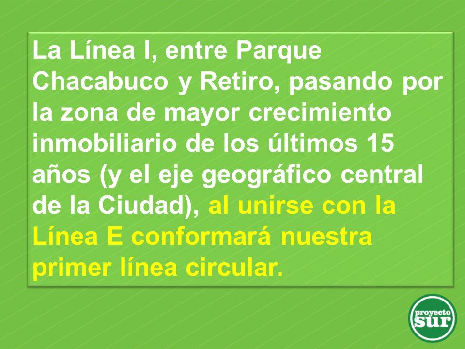 La Línea I, entre Parque Chacabuco y Retiro, pasando por la zona de mayor crecimiento inmobiliario de los últimos 15 años (y el eje geográfico central de la Ciudad), al unirse con la Línea E conformará nuestra primer línea circular.