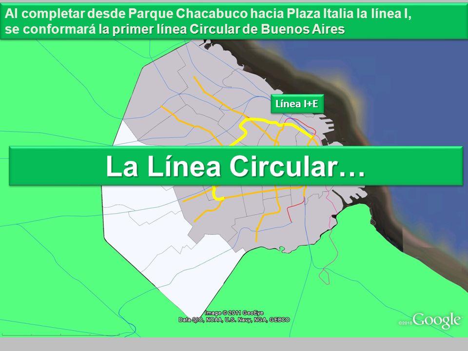 Línea I+E Al completar desde Parque Chacabuco hacia Plaza Italia la línea I, la primer línea Circular de Buenos Aires se conformará la primer línea Ci