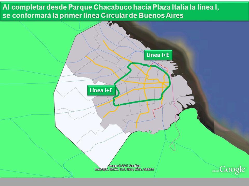 Línea I+E Al completar desde Parque Chacabuco hacia Plaza Italia la línea I, la primer línea Circular de Buenos Aires se conformará la primer línea Circular de Buenos Aires Al completar desde Parque Chacabuco hacia Plaza Italia la línea I, la primer línea Circular de Buenos Aires se conformará la primer línea Circular de Buenos Aires