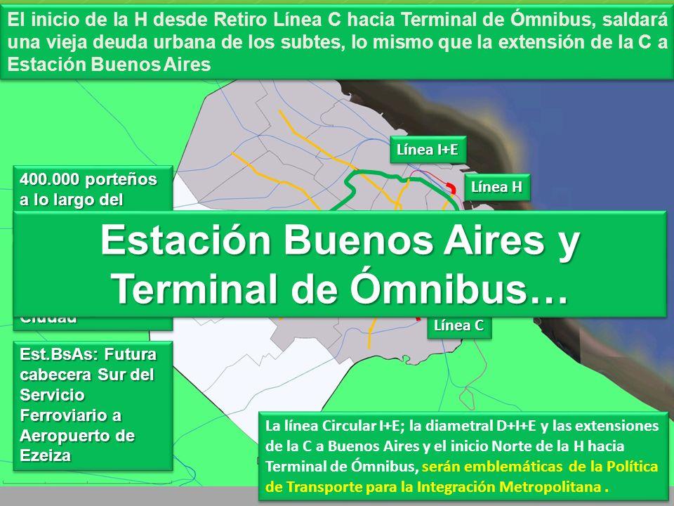 La línea Circular I+E; la diametral D+I+E y las extensiones de la C a Buenos Aires y el inicio Norte de la H hacia Terminal de Ómnibus, serán emblemáticas de la Política de Transporte para la Integración Metropolitana.
