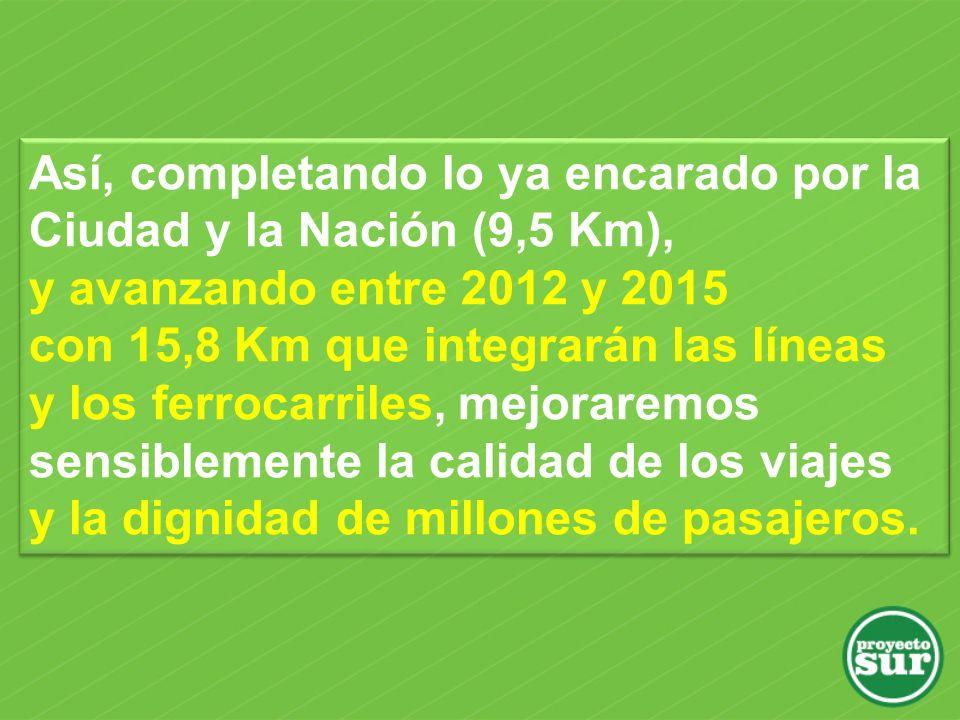 Así, completando lo ya encarado por la Ciudad y la Nación (9,5 Km), y avanzando entre 2012 y 2015 con 15,8 Km que integrarán las líneas y los ferrocarriles, mejoraremos sensiblemente la calidad de los viajes y la dignidad de millones de pasajeros.