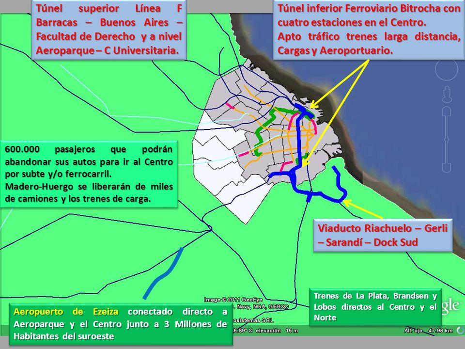 Trenes de La Plata, Brandsen y Lobos directos al Centro y el Norte Aeropuerto de Ezeiza conectado directo a Aeroparque y el Centro junto a 3 Millones de Habitantes del suroeste 600.000 pasajeros que podrán abandonar sus autos para ir al Centro por subte y/o ferrocarril.