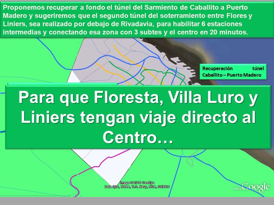 50.000 pasajeros podrían incorporarse al Metro-FC-Subte entre Liniers y Flores (Nazca), incorporando 6 estaciones (Floresta, Villa Luro y Liniers + 3