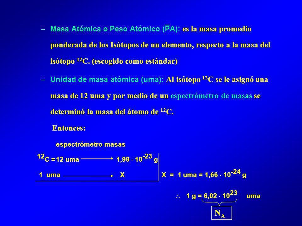 –Masa Atómica o Peso Atómico (PA): es la masa promedio ponderada de los Isótopos de un elemento, respecto a la masa del isótopo 12 C.