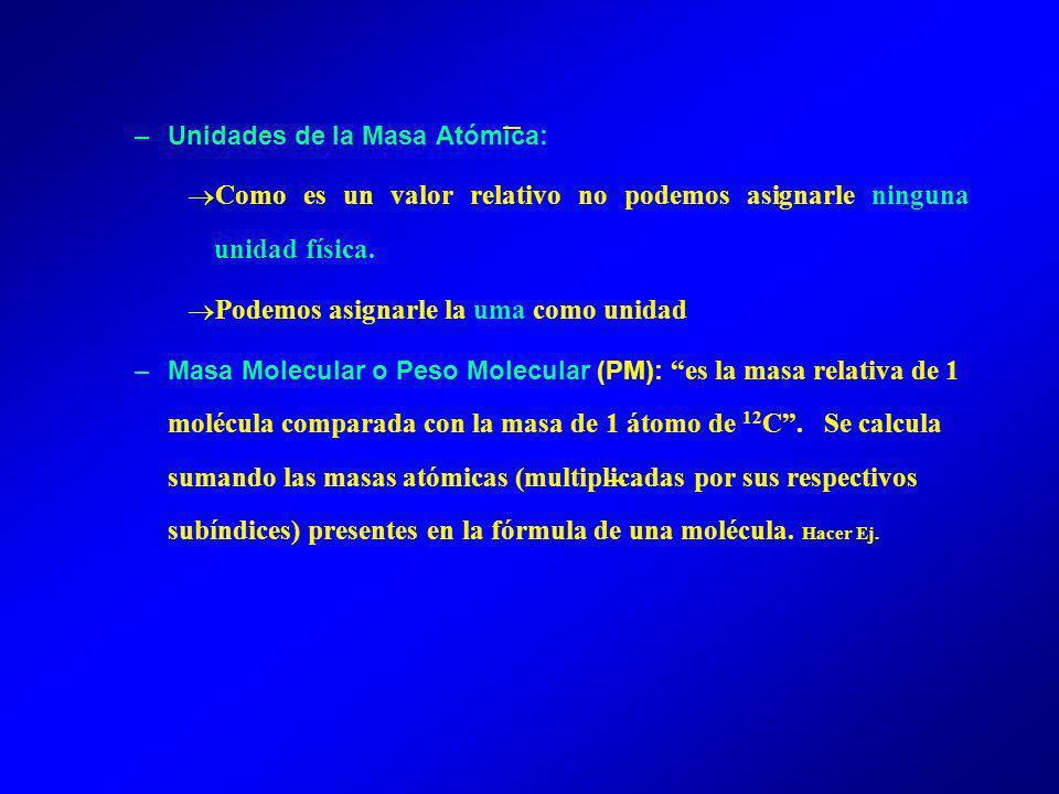 –Unidades de la Masa Atómica: Como es un valor relativo no podemos asignarle ninguna unidad física.