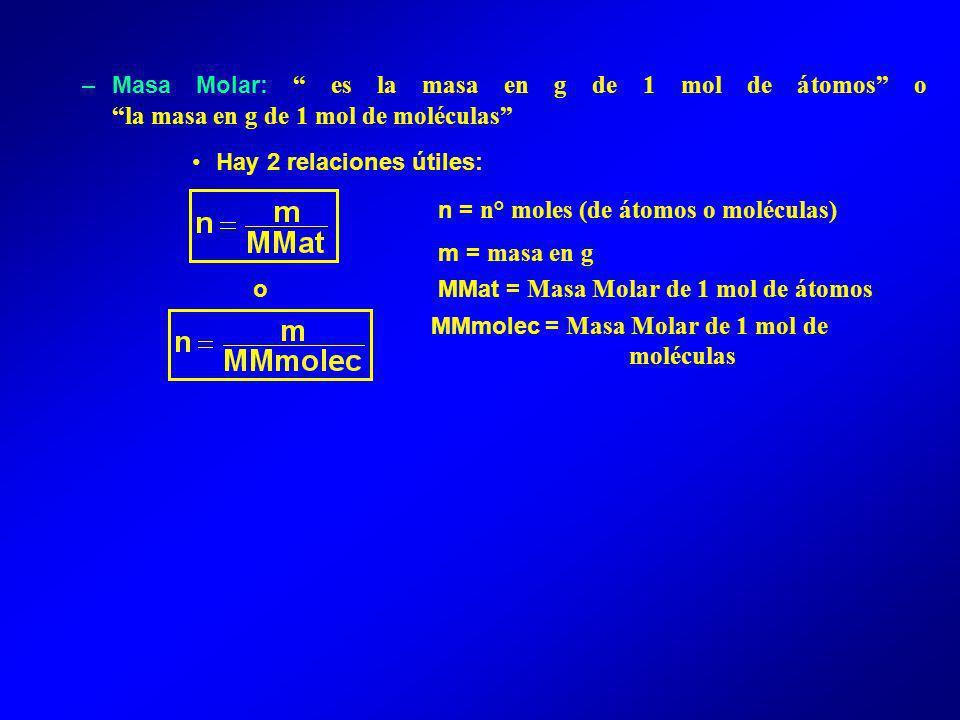 –Masa Molar: es la masa en g de 1 mol de átomos o la masa en g de 1 mol de moléculas Hay 2 relaciones útiles: n = n° moles (de átomos o moléculas) m = masa en g o MMat = Masa Molar de 1 mol de átomos MMmolec = Masa Molar de 1 mol de moléculas