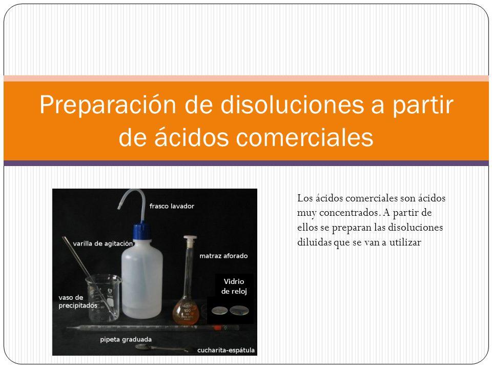 Preparación de disoluciones a partir de ácidos comerciales Vidrio de reloj Los ácidos comerciales son ácidos muy concentrados.