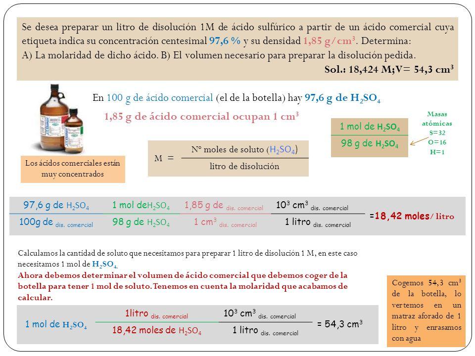 Se desea preparar un litro de disolución 1M de ácido sulfúrico a partir de un ácido comercial cuya etiqueta indica su concentración centesimal 97,6 % y su densidad 1,85 g/cm 3.