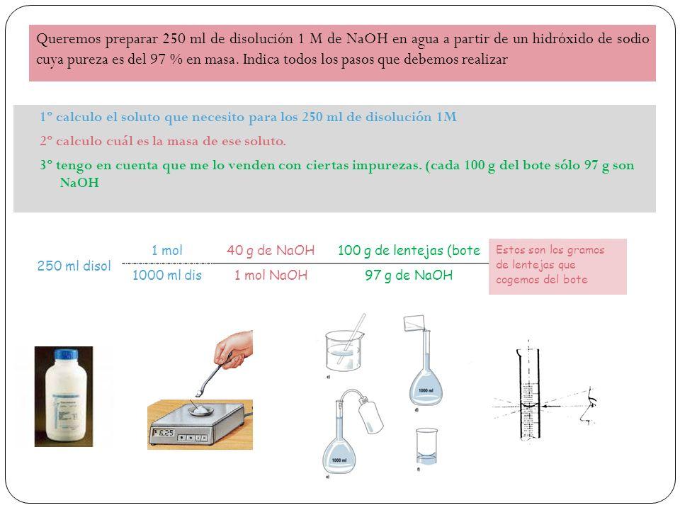 Queremos preparar 250 ml de disolución 1 M de NaOH en agua a partir de un hidróxido de sodio cuya pureza es del 97 % en masa.