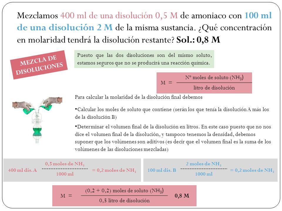 Mezclamos 400 ml de una disolución 0,5 M de amoniaco con 100 ml de una disolución 2 M de la misma sustancia.