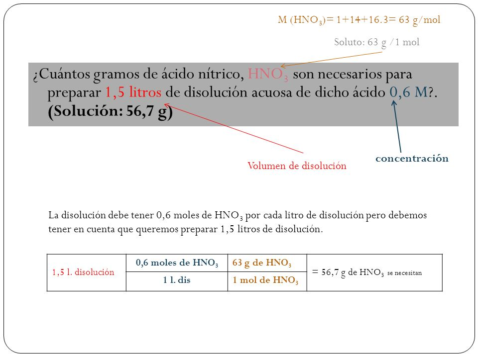 ¿Cuántos gramos de ácido nítrico, HNO 3 son necesarios para preparar 1,5 litros de disolución acuosa de dicho ácido 0,6 M .