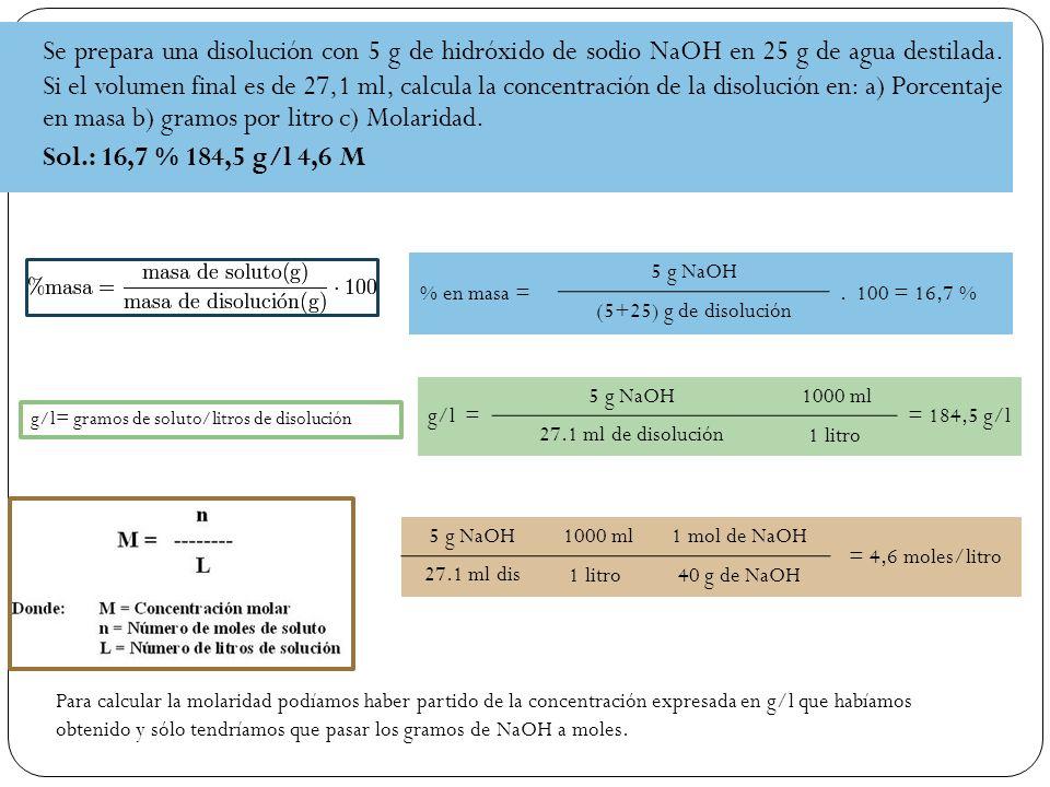 Se prepara una disolución con 5 g de hidróxido de sodio NaOH en 25 g de agua destilada.