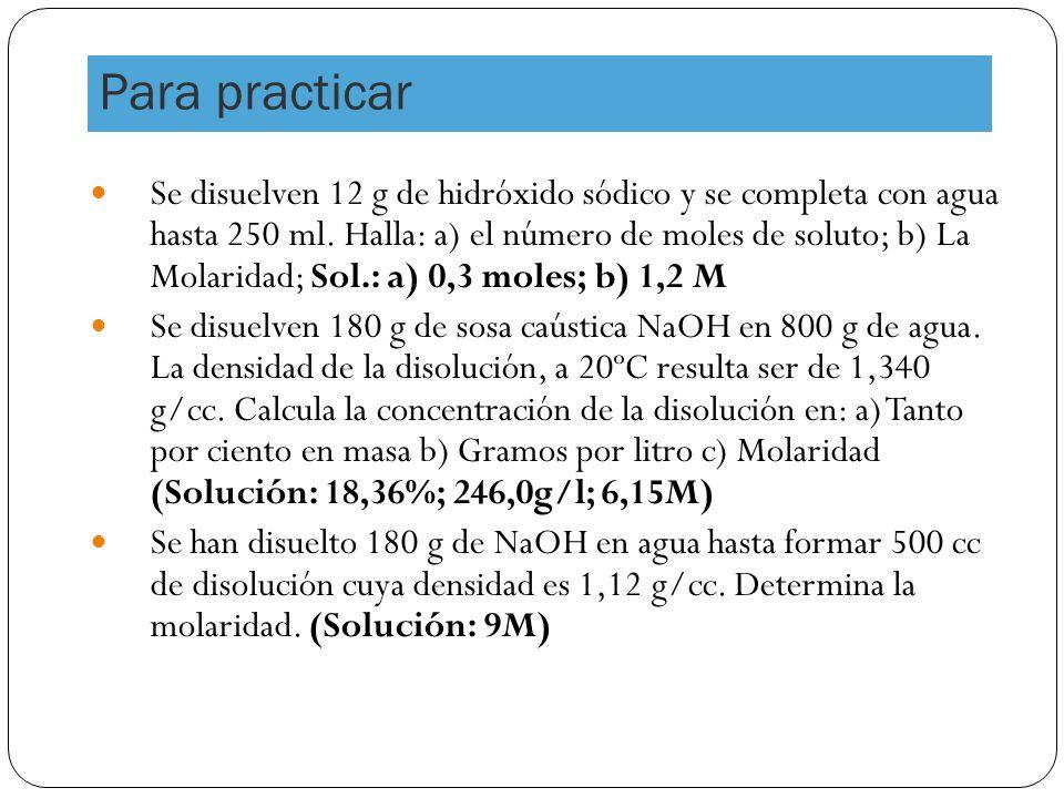Para practicar Se disuelven 12 g de hidróxido sódico y se completa con agua hasta 250 ml.