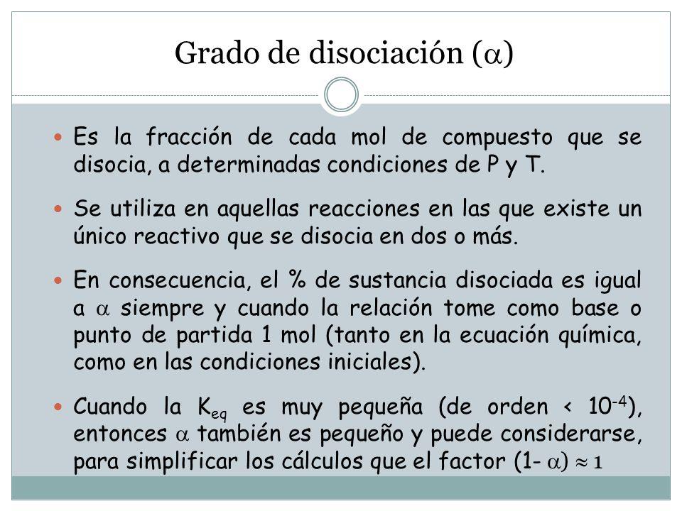 Grado de disociación ( ) Es la fracción de cada mol de compuesto que se disocia, a determinadas condiciones de P y T.