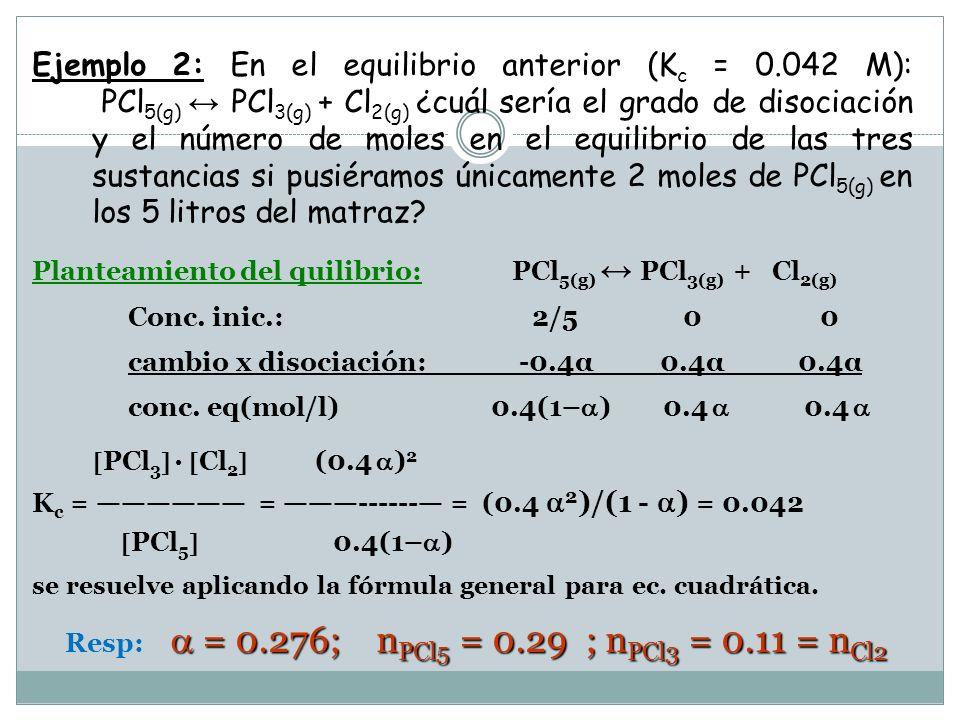 b) Continuación del Ej.1: b) ¿cuál es el grado de disociación.