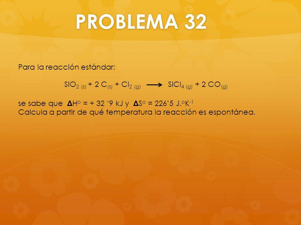 PROBLEMA 32 Para la reacción estándar: se sabe que Δ H o = + 32 9 kJ y Δ S o = 2265 J. o K -1 Calcula a partir de qué temperatura la reacción es espon