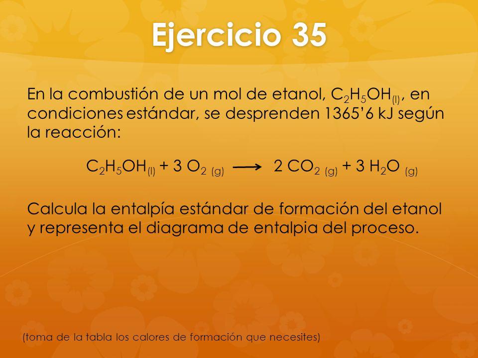Ejercicio 35 En la combustión de un mol de etanol, C 2 H 5 OH (l), en condiciones estándar, se desprenden 13656 kJ según la reacción: Calcula la ental