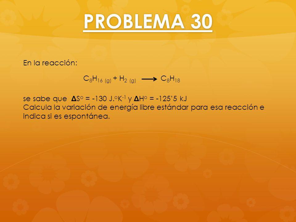 PROBLEMA 30 En la reacción: se sabe que Δ S o = -130 J. o K -1 y Δ H o = -1255 kJ Calcula la variación de energía libre estándar para esa reacción e i