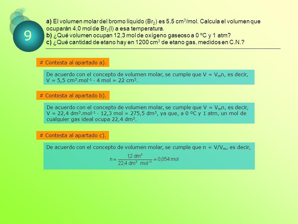 a) El volumen molar del bromo líquido (Br 2 ) es 5,5 cm 3 /mol.