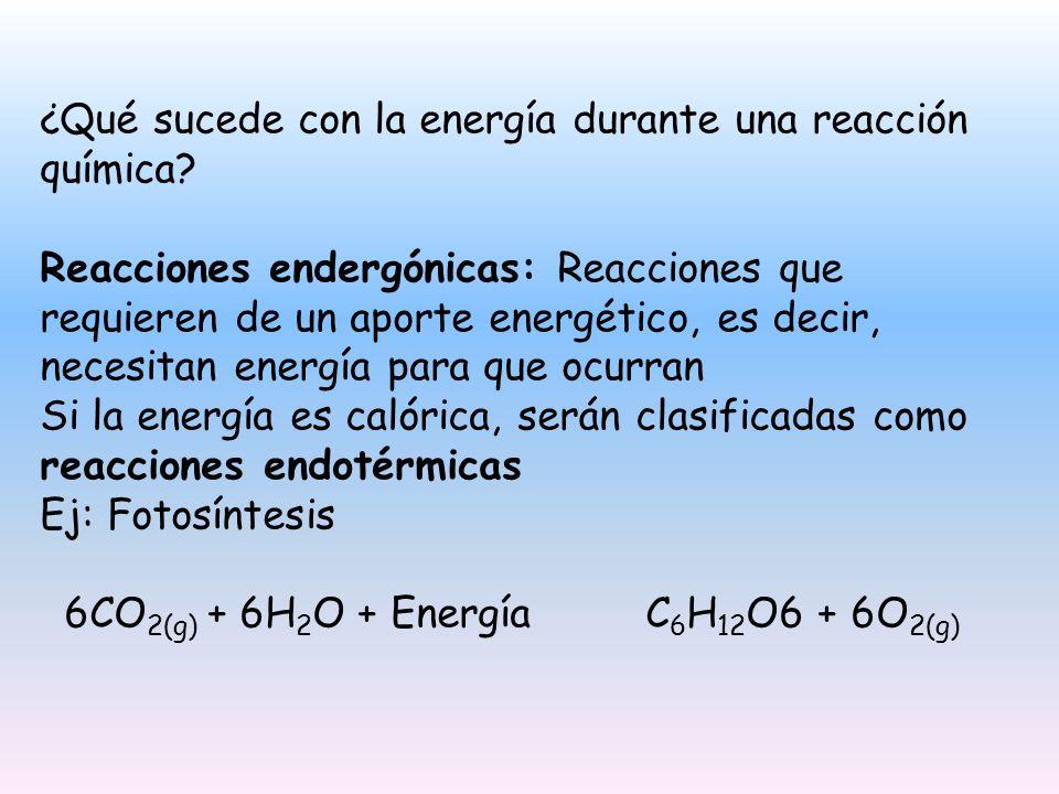 Reacciones exergónicas: Reacciones que desprenden energía al entorno.