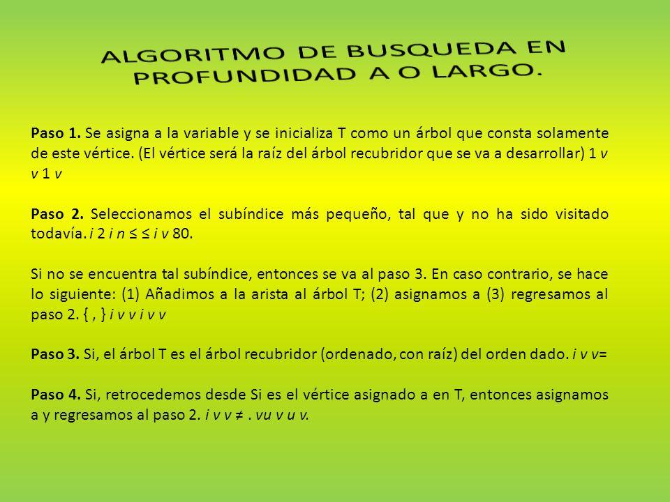 Paso 1. Se asigna a la variable y se inicializa T como un árbol que consta solamente de este vértice. (El vértice será la raíz del árbol recubridor qu