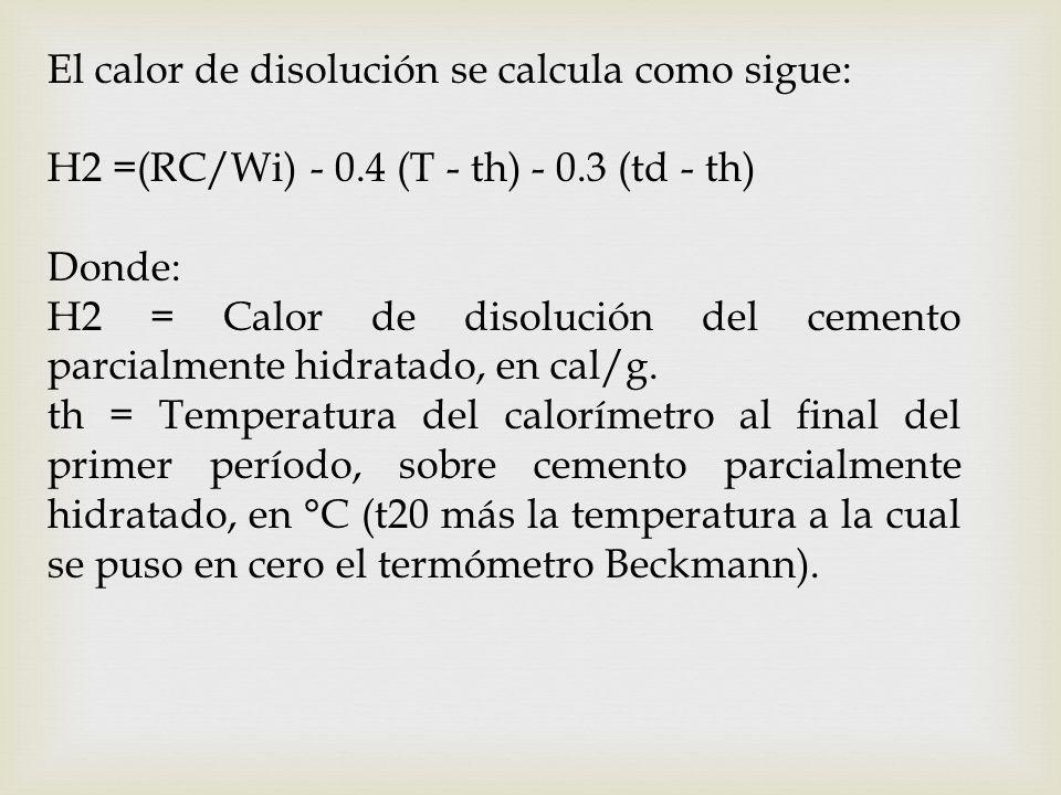 El calor de disolución se calcula como sigue: H2 =(RC/Wi) - 0.4 (T - th) - 0.3 (td - th) Donde: H2 = Calor de disolución del cemento parcialmente hidr