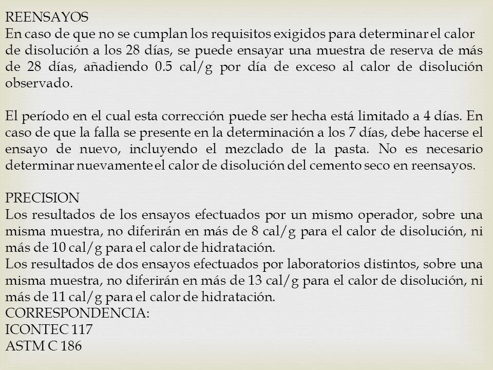 REENSAYOS En caso de que no se cumplan los requisitos exigidos para determinar el calor de disolución a los 28 días, se puede ensayar una muestra de r