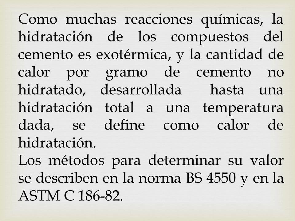 Determinación del calor de disolución del cemento seco.- Se determina en la misma forma que la capacidad calorífica del sistema, salvo que se usan 3 g de cemento, pesados con una aproximación de 0.001 g, en lugar de óxido de zinc (ver numeral 5).