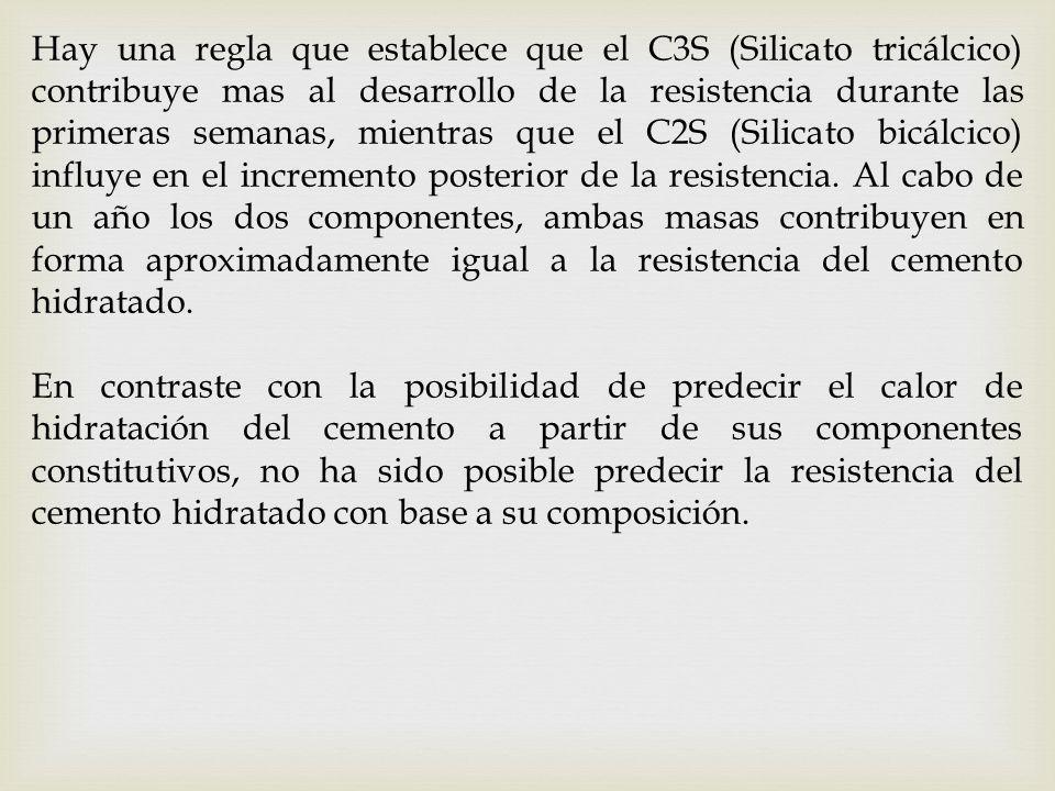 Hay una regla que establece que el C3S (Silicato tricálcico) contribuye mas al desarrollo de la resistencia durante las primeras semanas, mientras que