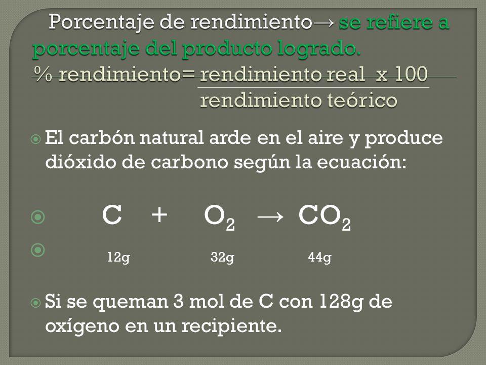 El carbón natural arde en el aire y produce dióxido de carbono según la ecuación: C + O 2 CO 2 12g 32g 44g Si se queman 3 mol de C con 128g de oxígeno en un recipiente.
