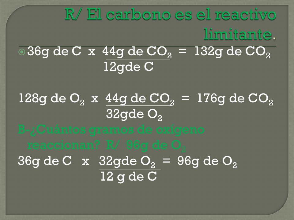 36g de C x 44g de CO 2 = 132g de CO 2 12gde C 128g de O 2 x 44g de CO 2 = 176g de CO 2 32gde O 2 B-¿Cuántos gramos de oxígeno reaccionan.