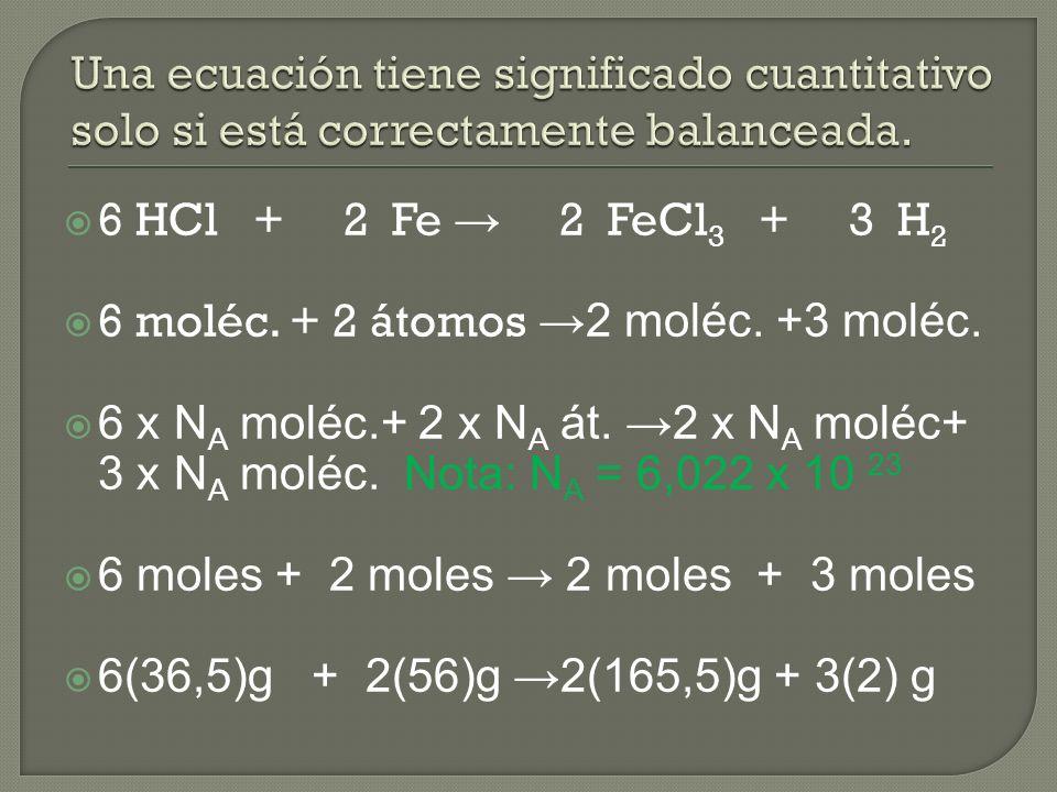 6 HCl + 2 Fe 2 FeCl 3 + 3 H 2 6 moléc. + 2 átomos 2 moléc.