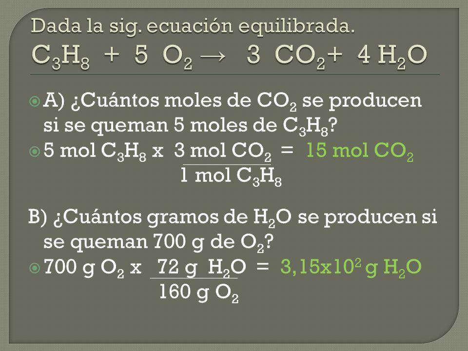 A) ¿Cuántos moles de CO 2 se producen si se queman 5 moles de C 3 H 8 .
