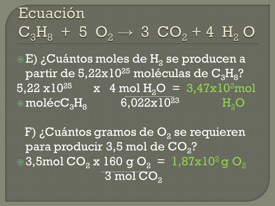 *Se parte de ecuación química balanceada.