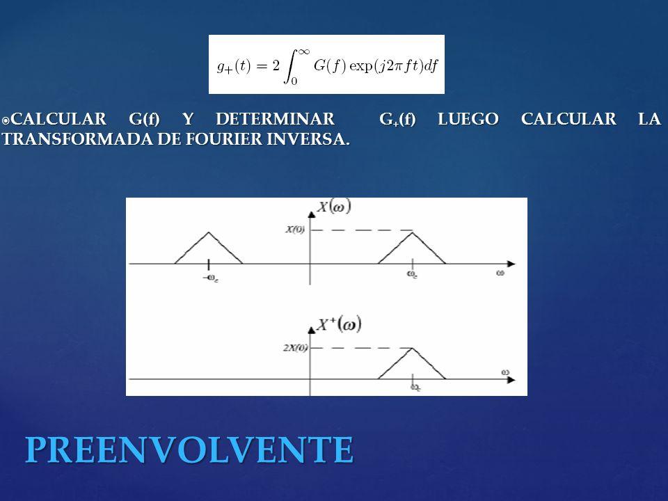 CALCULAR G(f) Y DETERMINAR G + (f) LUEGO CALCULAR LA TRANSFORMADA DE FOURIER INVERSA. CALCULAR G(f) Y DETERMINAR G + (f) LUEGO CALCULAR LA TRANSFORMAD