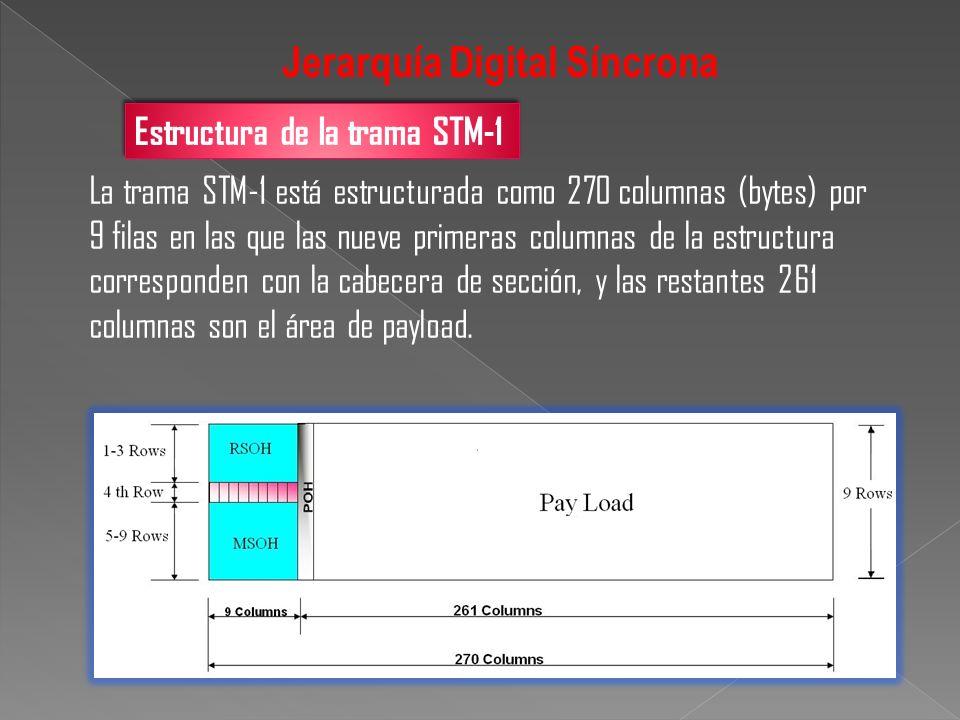Estructura de la trama STM-1 La trama STM-1 está estructurada como 270 columnas (bytes) por 9 filas en las que las nueve primeras columnas de la estru