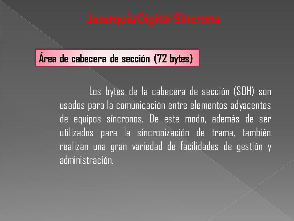 Los bytes de la cabecera de sección (SOH) son usados para la comunicación entre elementos adyacentes de equipos síncronos. De este modo, además de ser