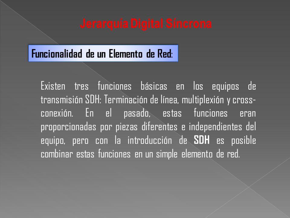 Funcionalidad de un Elemento de Red : Existen tres funciones básicas en los equipos de transmisión SDH: Terminación de línea, multiplexión y cross- co