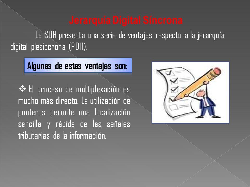 La SDH presenta una serie de ventajas respecto a la jerarquía digital plesiócrona (PDH). Jerarquía Digital Síncrona El proceso de multiplexación es mu