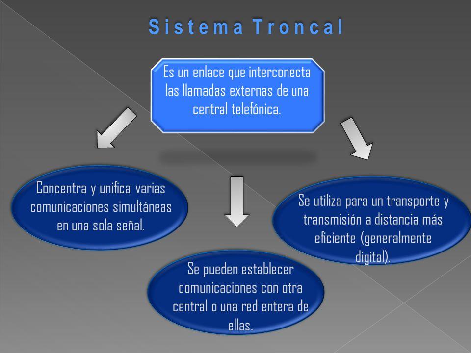 Se pueden establecer comunicaciones con otra central o una red entera de ellas. S i s t e m a T r o n c a l Es un enlace que interconecta las llamadas