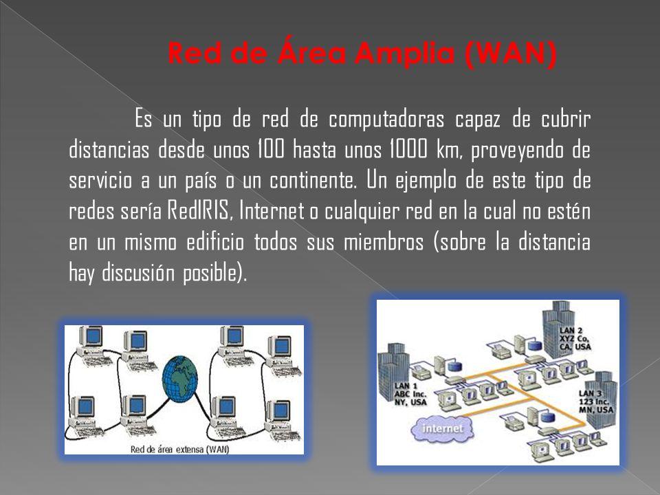 Es un tipo de red de computadoras capaz de cubrir distancias desde unos 100 hasta unos 1000 km, proveyendo de servicio a un país o un continente. Un e