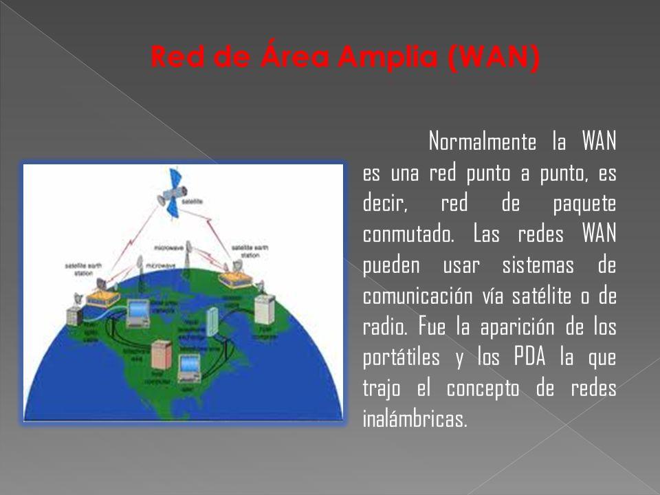 Normalmente la WAN es una red punto a punto, es decir, red de paquete conmutado. Las redes WAN pueden usar sistemas de comunicación vía satélite o de